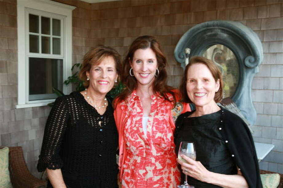 Elizabeth Wareing, Phoebe Tudor and Mary Wolff at a reception for M.D. Anderson Cancer Center supporters at the seasonal home of Phoebe and Bobby Tudor in Nantucket, Mass. Photo: Jordi Cabre