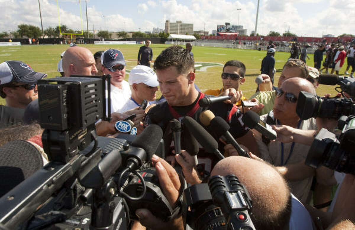 Texans linebacker Brian Cushing tells reporters his positive test for a fertility drug was the result of overtraining. Cushing is suspended for the first four games this season after testing positive last September for hCG, a drug on the league's banned substance list.