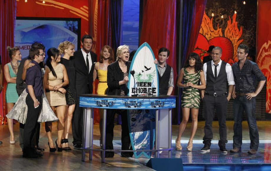 Jane Lynch and the cast of Glee won best TV comedy. Photo: Matt Sayles, AP