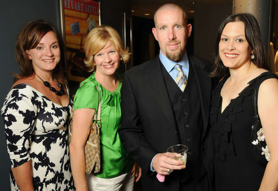 From left: Stephanie Candelari, Elaine Calvert, Robert Griffith and Tracy Griffith at a reception for Bald in the Land of Big Hair, a cancer-themed play at the Main Street Theater. Photo: Dave Rossman, For The Chronicle
