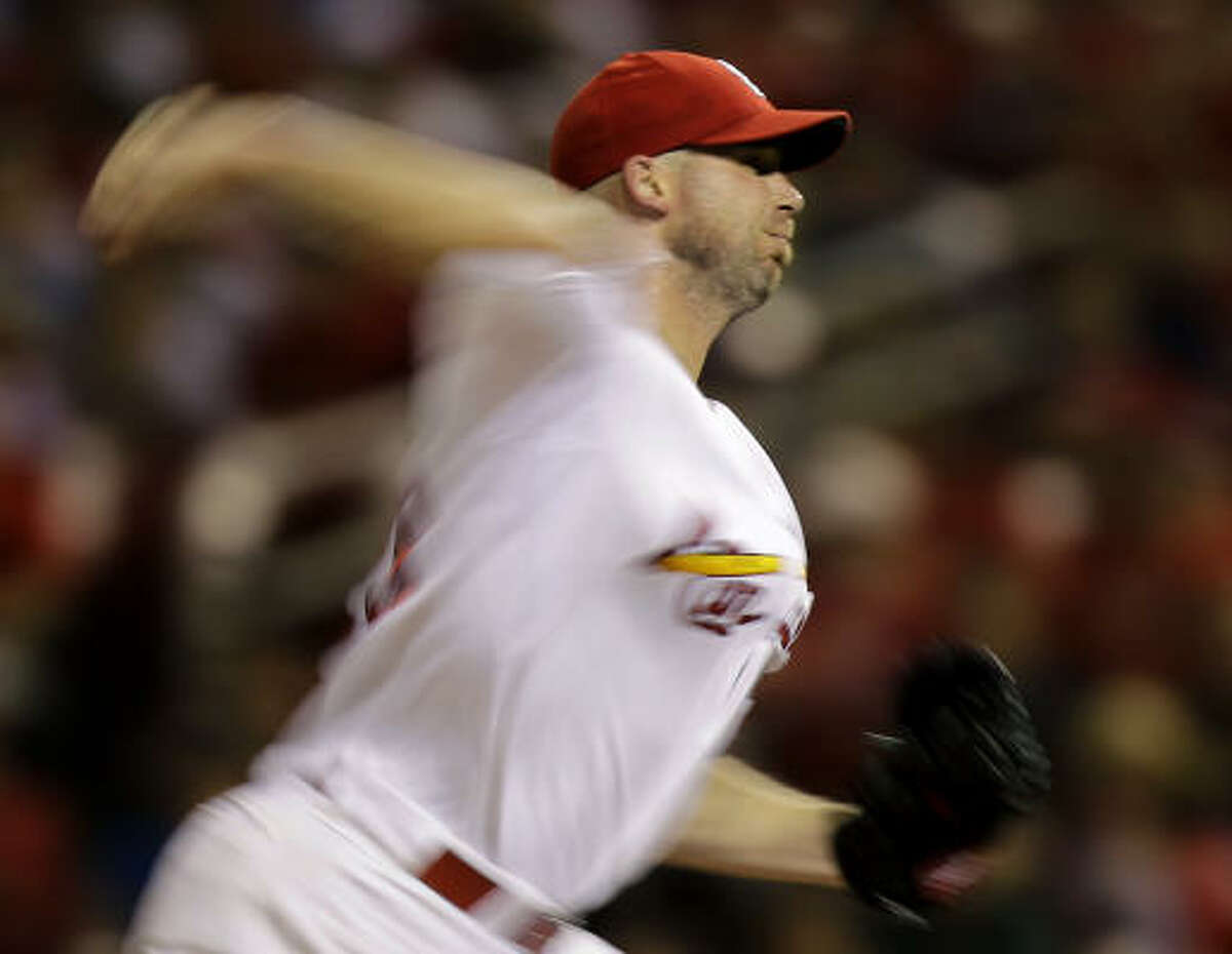 Aug. 4: Cardinals 8, Astros 4 Cardinals starting pitcher Chris Carpenter throws during the sixth inning.