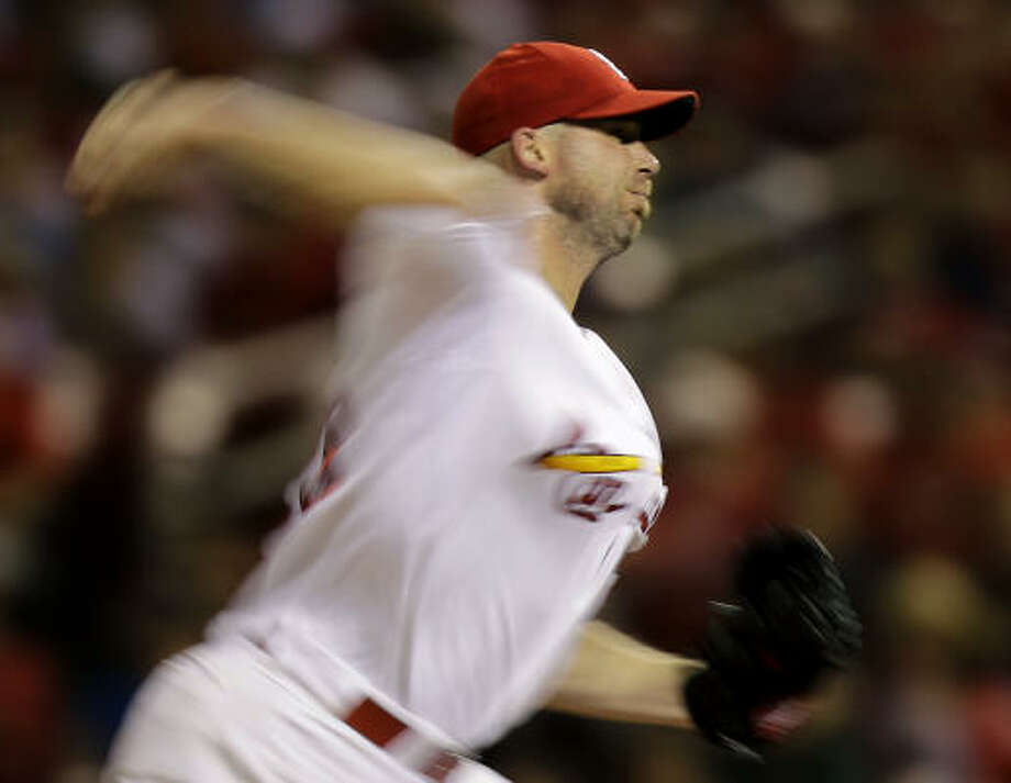 Aug. 4: Cardinals 8, Astros 4Cardinals starting pitcher Chris Carpenter throws during the sixth inning. Photo: Jeff Roberson, AP