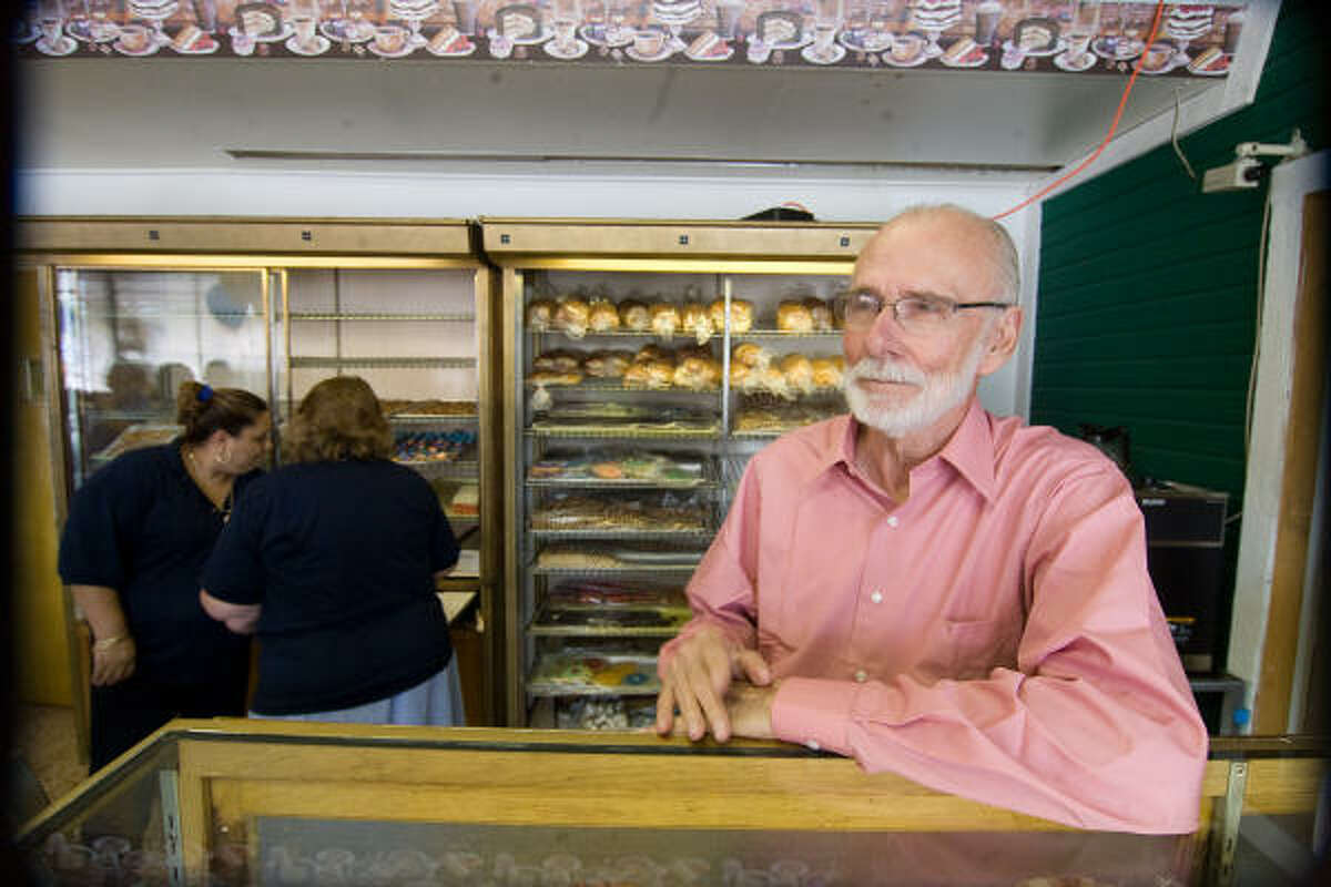 Don Moeller greets customers at Moeller's Bakery, which will celebrate its 80th anniversary on August 14.
