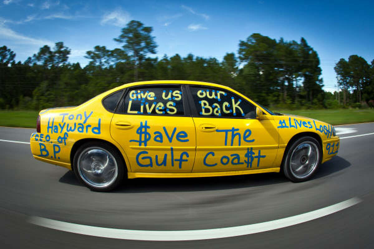 A driver rolls down the highway with messages such as