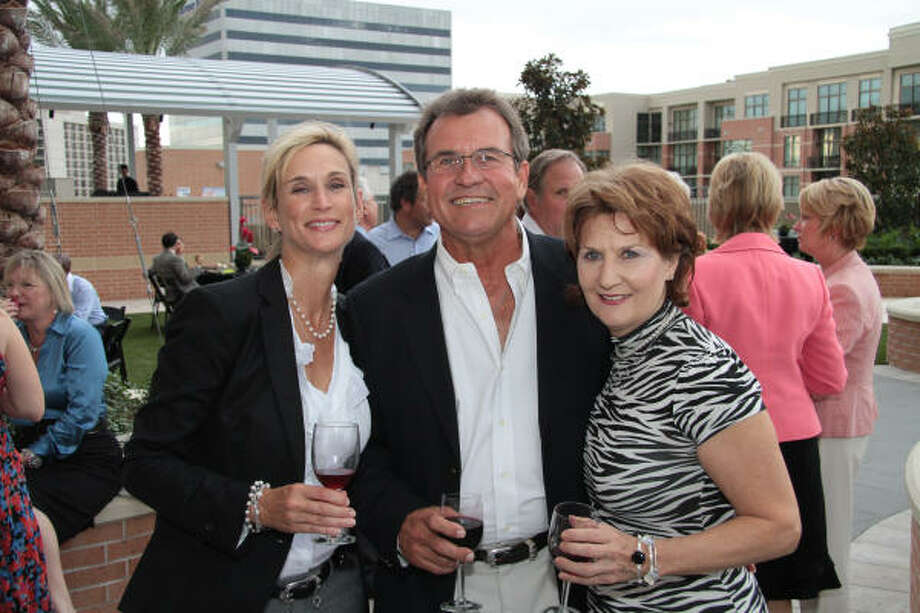 "Rhonda and Talmadge Hargraves with Liz Lawhorn at the ""Hot! Hot! Hot!"" fall kickoff party for the Partnership for Baylor College of Medicine. Photo: Pete Baatz"