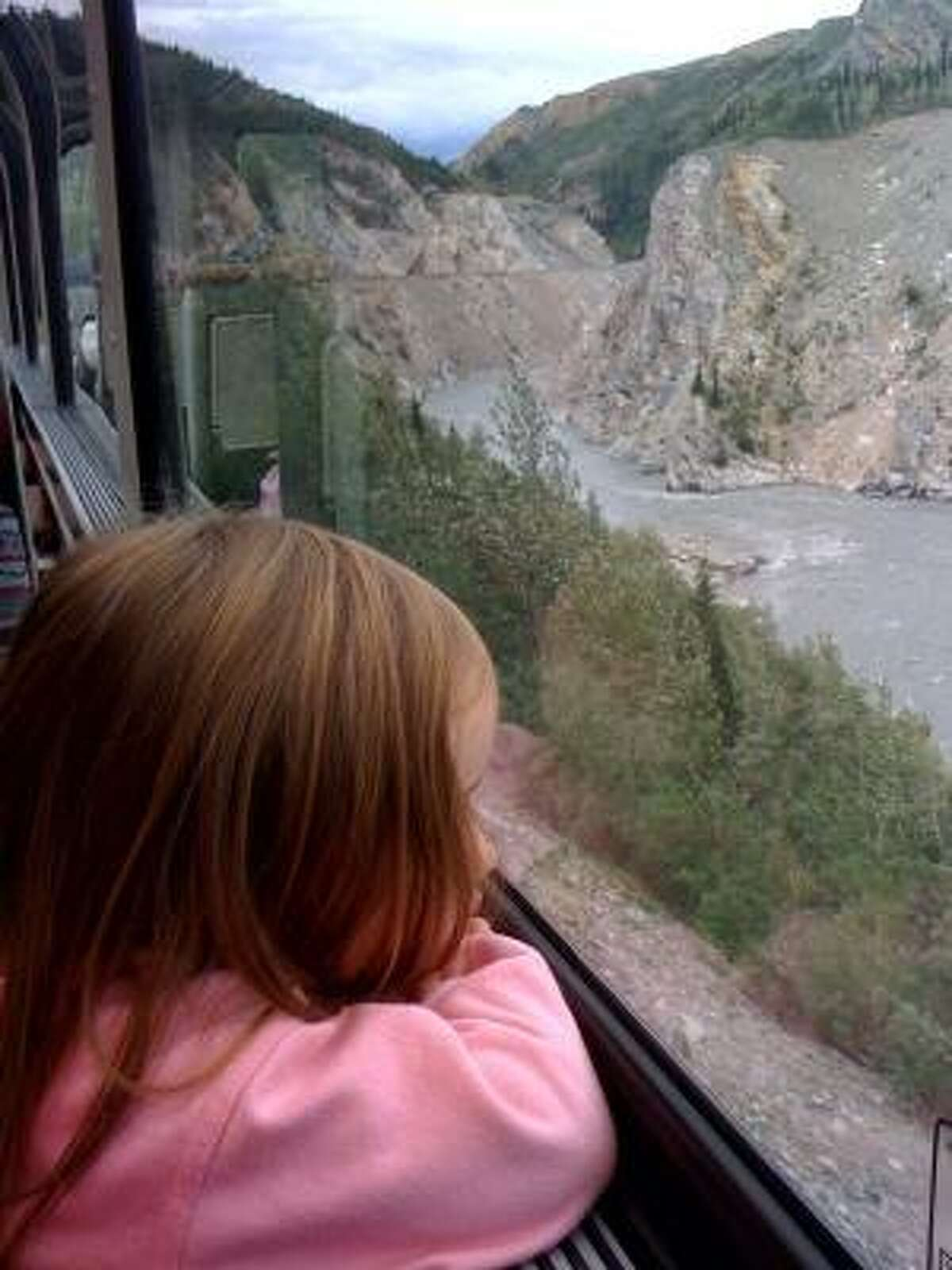 Train travel is much easier than car travel for our four-year-old.