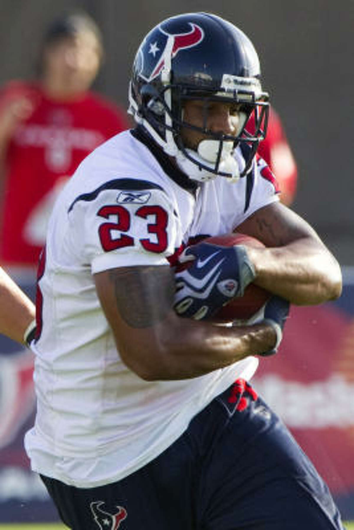 Running back : With five running backs healthy and doing well, general manager Rick Smith and coach Gary Kubiak are going to have their work cut out to determine who gets cut or traded, barring injuries, of course. Right now, all the backs look good in practice, especially 229-pound Arian Foster.