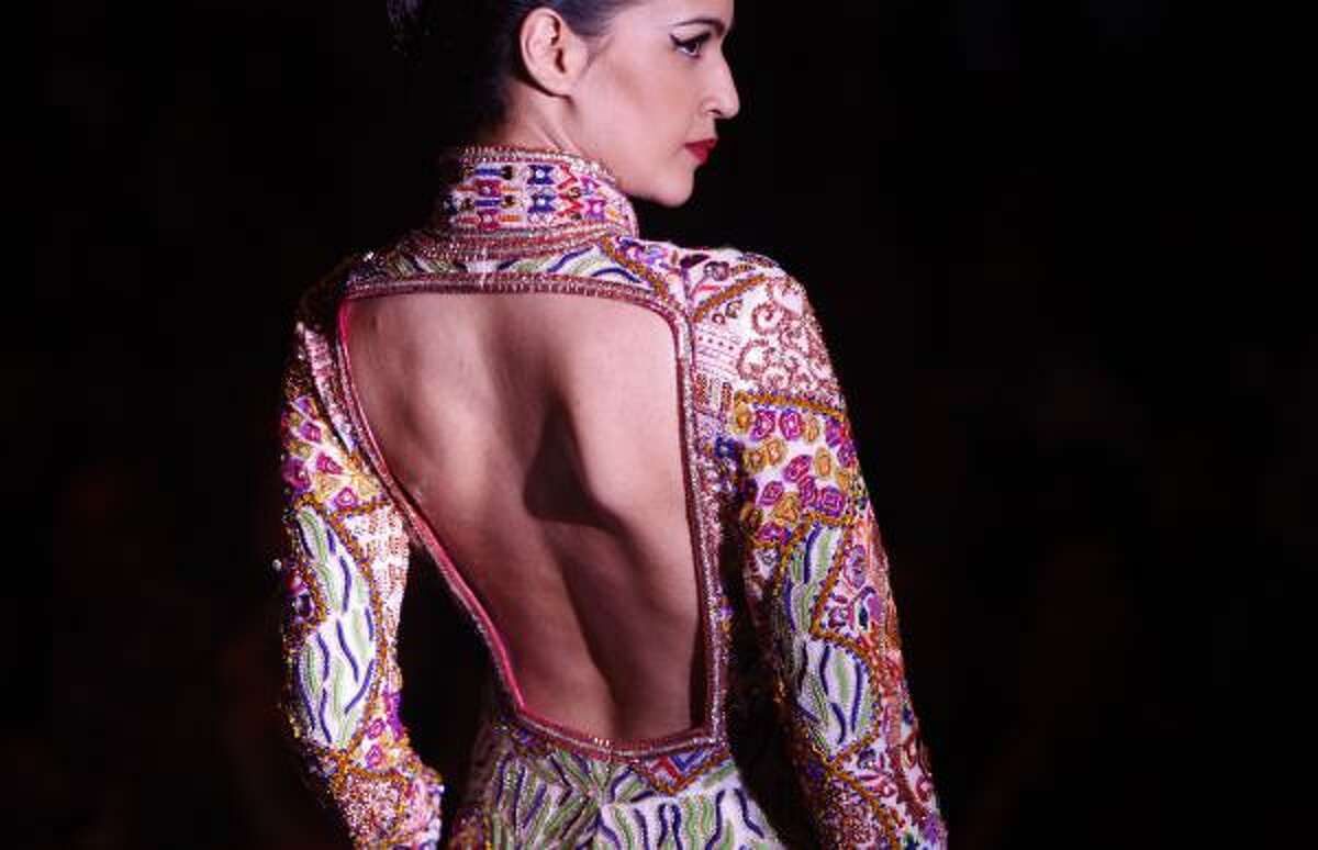 Dresses by designers Abu Jani & Sandeep Khosla look meant for royalty, with expensive fabrics and elaborate embroidery.