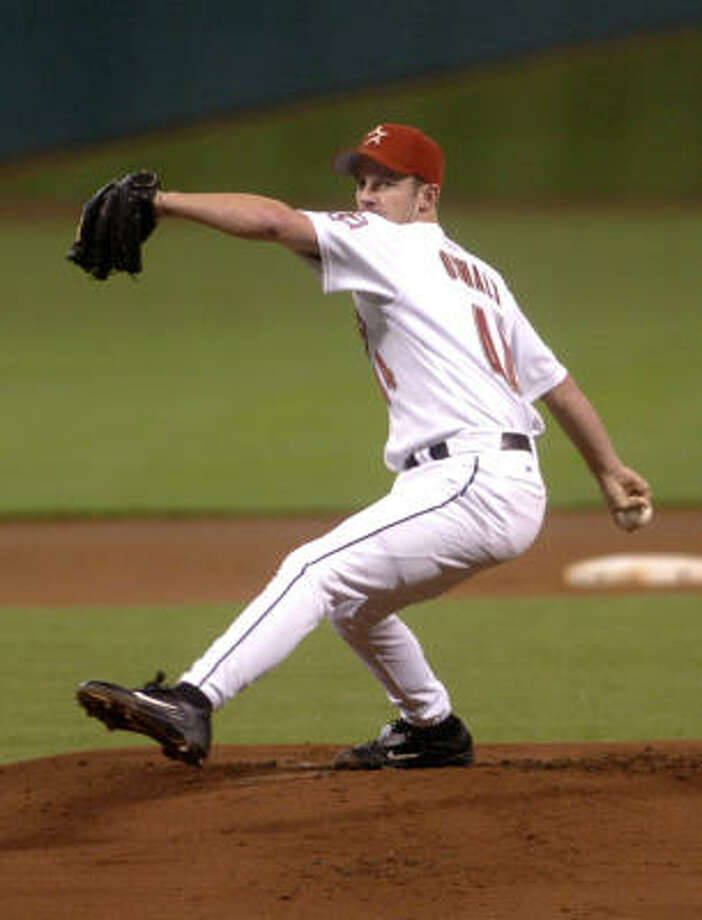 2005: Roy Oswalt was superb as usual, going 20-12 with a 2.94 ERA. He was named an All-Star for the first time and propelled the Astros to their first World Series by allowing one run in seven innings en route to a win in Game 6 of the National League Championship Series against St. Louis. Photo: TIM JOHNSON, FOR THE CHRONICLE