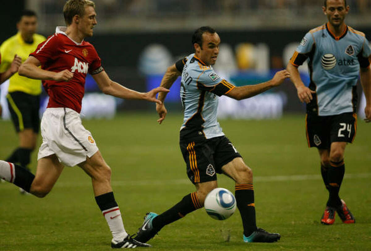 MLS All-Star forward Landon Donovan tries to control the ball.