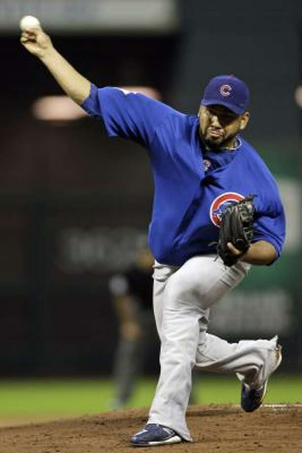 Cubs starting pitcher Carlos Silva threw for five innings, giving up one run on five hits and a walk. He struck out four. Photo: David J. Phillip, AP