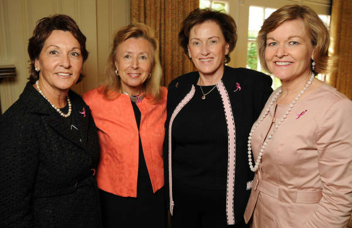 From left: Arza Funk, Hadassah Lieberman, Eileen Campbell and Dorothy Paterson at a cocktail reception announcing the opportunity to join the U.S. Mission Delegation to the Inaugural Susan G. Komen Israel Race for the Cure around the walls of historic Old Jerusalem on Oct. 28.