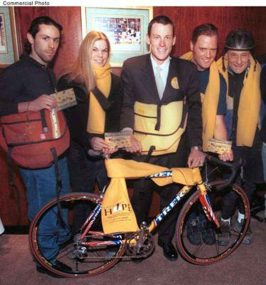Inspired New York bicycle messengers gear up to help fellow biker Lance Armstrong launch his 'Cycle of Hope' cancer awareness message. Photo: PRN