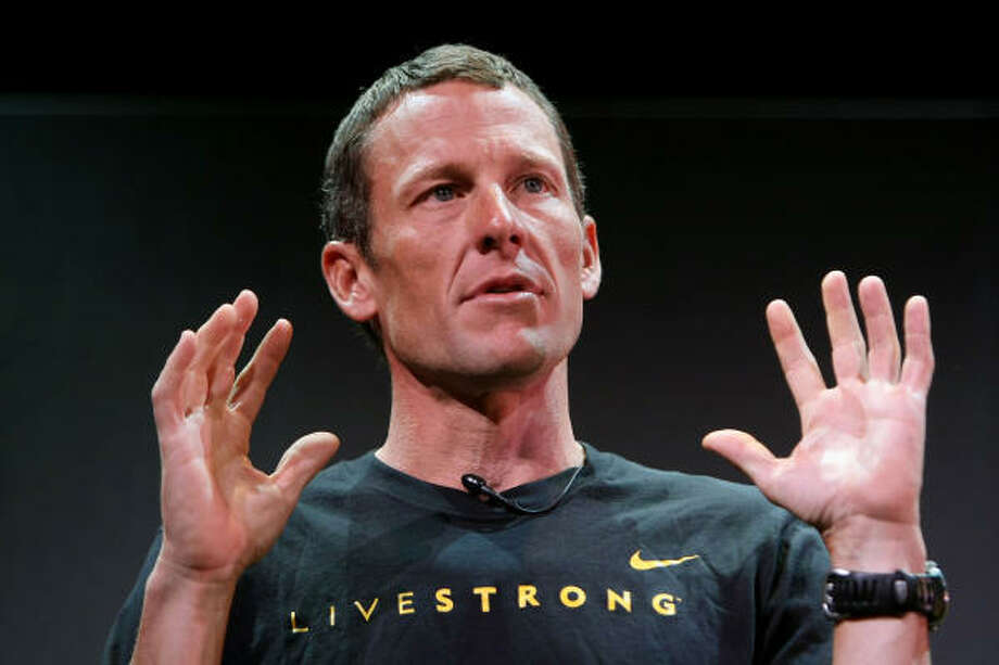 Seven-time Tour de France winner Lance Armstrong speaks at the launch of a Nike and the Lance Armstrong Foundation's Global Art Exhibition at Montalban Theater in Hollywood in 2009. The Exhibition was aimed at raising funds and awareness in the fight against Cancer. Photo: Kristian Dowling, Getty Images