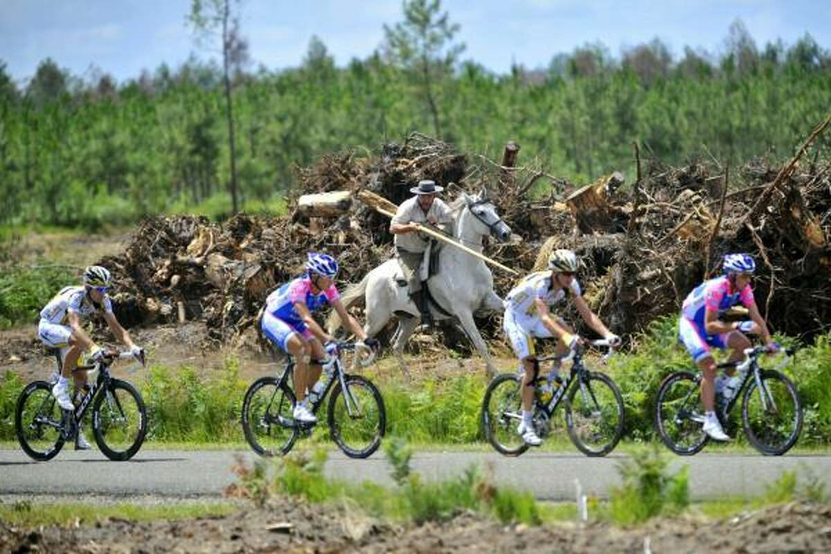 The pack rides past a horseman during the 198 km and 18th stage of the 2010 Tour de France cycling race run between Salies-de-Bearn and Bordeaux, southwestern France.