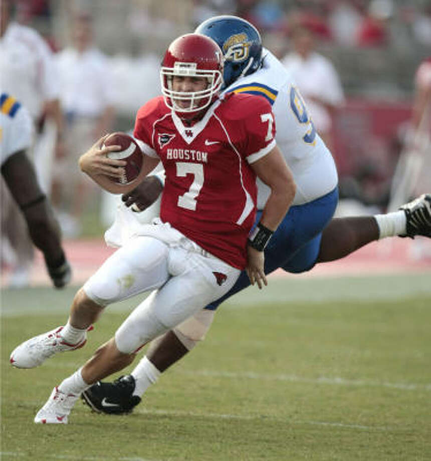 Aug. 30, 2008:Case Keenum, who beat out Blake Joseph for the starting quarterback job, tossed a career-high five touchdowns in the Cougars' 55-3 season-opening win over Southern. Photo: Billy Smith II, Chronicle