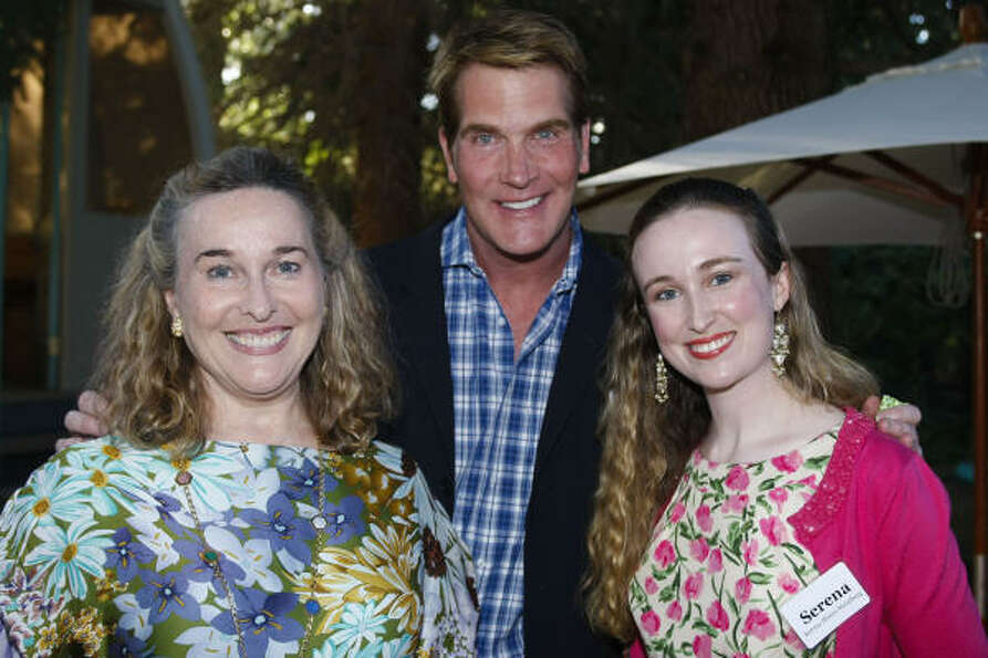Barbara Hines, George Lancaster and Serena Hines-Steinberg at a reception at the Aspen, Colo. home o