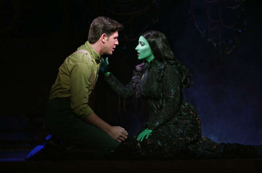 Elphaba (Donna Vivino) pines for the affection of Fiyero (Richard H. Blake) in Wicked. Photo: Joan Marcus