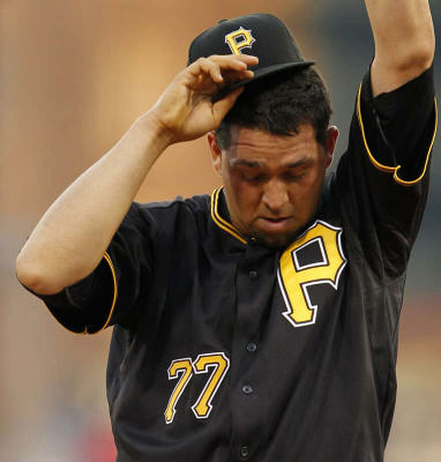 Pirates pitcher D.J. Carrasco stands on the mound during the sixth inning. Photo: Gene J. Puskar, AP
