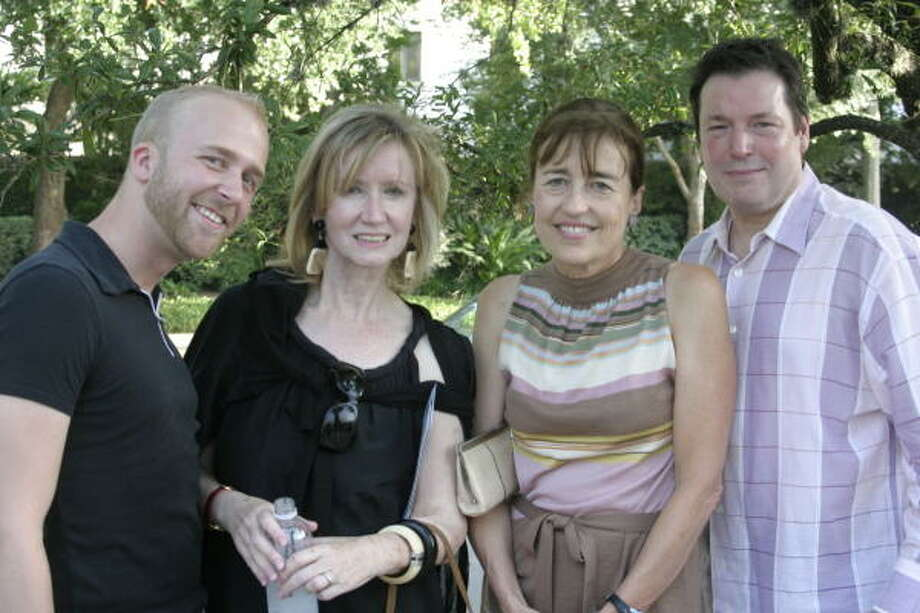 Michael Stribling, Maggi Jones, Andrea White and Scott Evans at I Am Waters Foundation Meets Contemporary Arts Museum Houston. The double event promoted the foundation's efforts to distribute bottled water to the homeless and the opening of Jennifer West's CAMH exhibit. Photo: Michelle Manteris, Chronicle