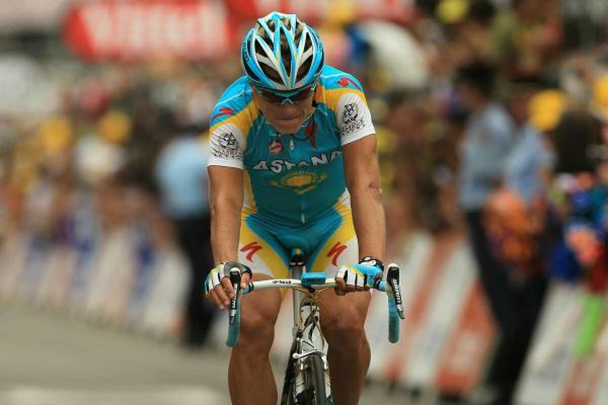 Astana rider Alexander Vinokourov heads to the finish line to win the stage.