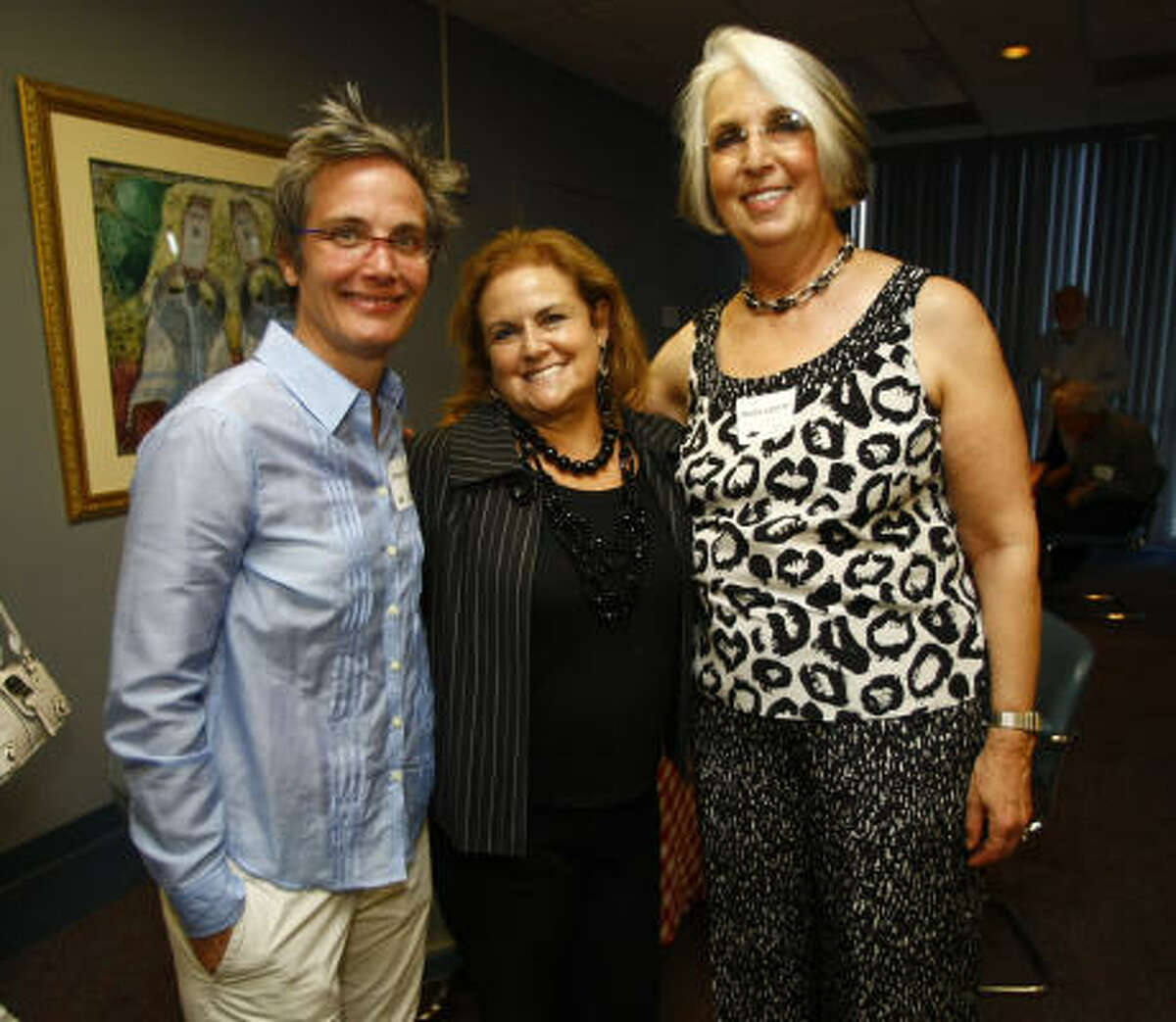 Monica Pope, co-chair Barbara Marcus, and chair Maida Asofsky at Dialogues 2010 at the Jewish Community Center Houston.