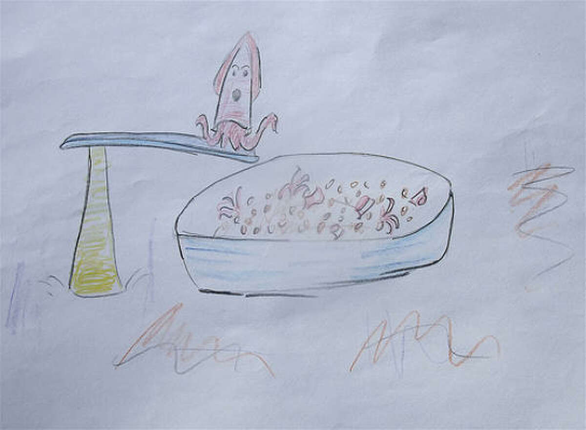 Sabetta's Sardinian calamari with fregola, chiles, pine nuts & capers. Drawing by Todd Romero.