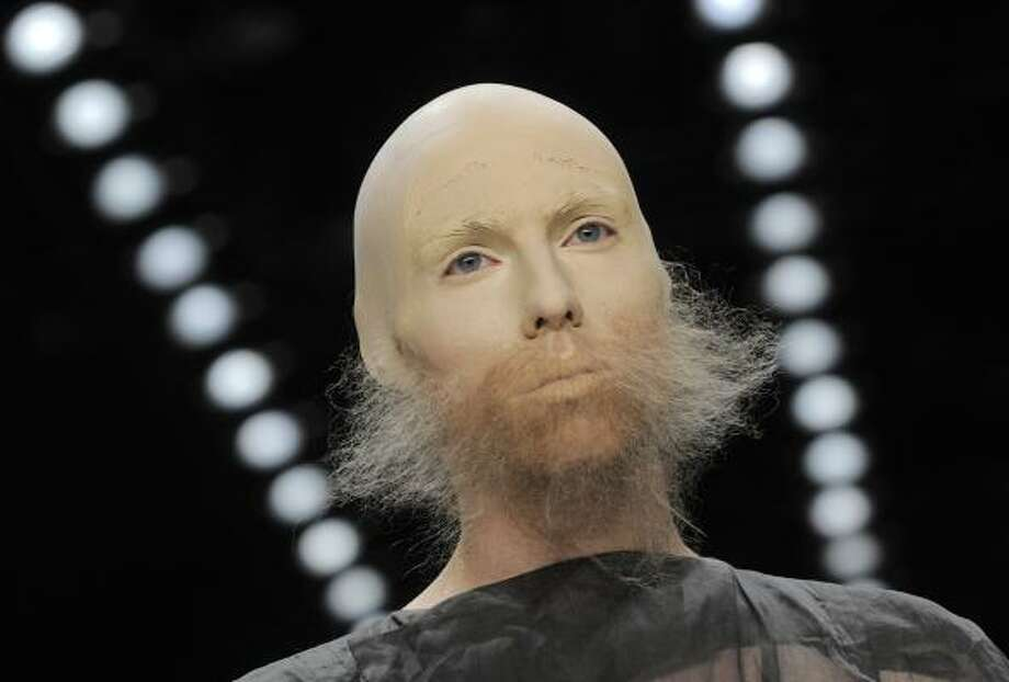Whiskered models walked the runway during Berlin Fashion week earlier this month. Photo: Jens Meyer, AP