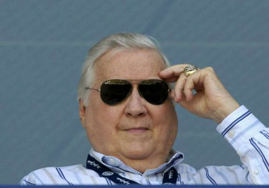 """The Boss,"" owner George Steinbrenner of the New York Yankees, watches play against the Philadelphia Phillies at George Steinbrenner Field April 1, 2009, in Tampa, Fla. Steinbrenner, former owner of the New York Yankees, has died after suffering a heart attack July 12, 2010, at the age of 80. Photo: Al Messerschmidt, Getty Images"