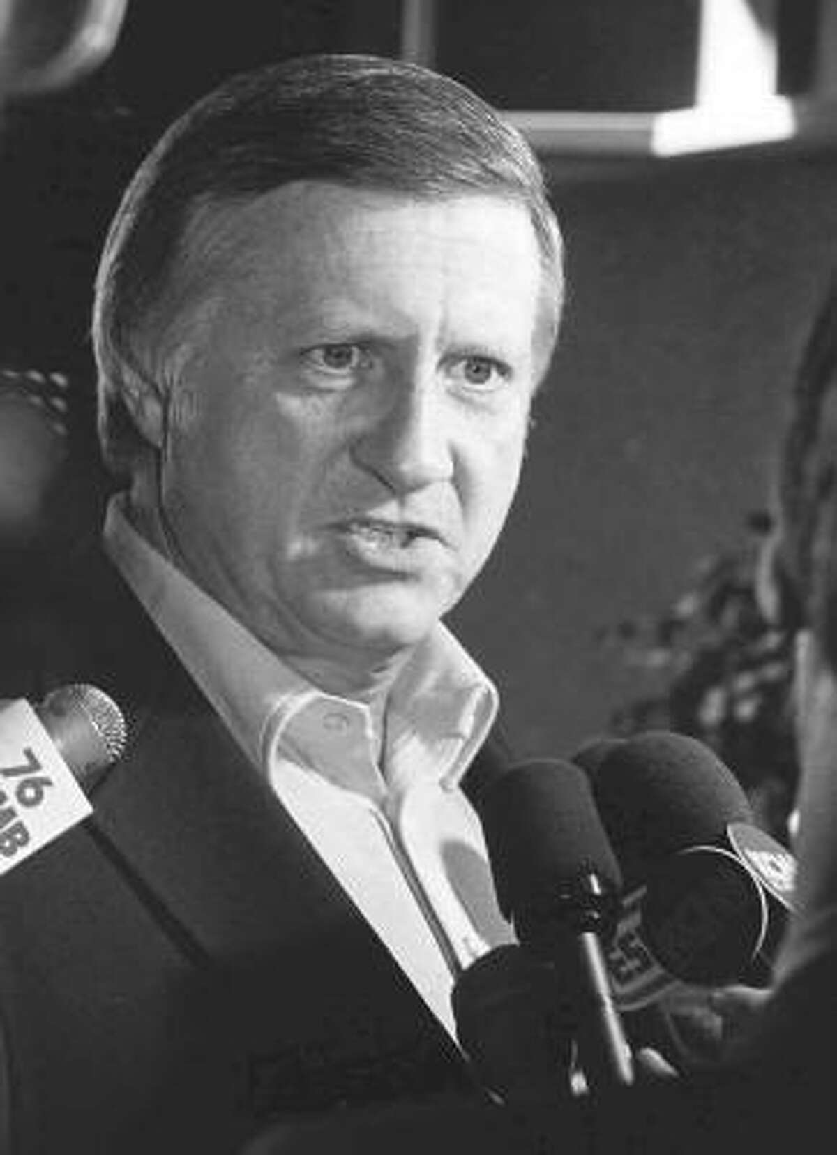 George Steinbrenner talks with members of the press at Yankee Stadium in New York on April 25, 1974.
