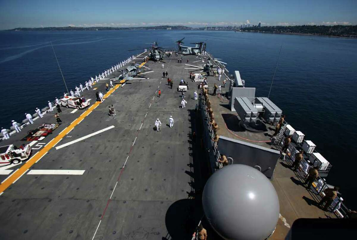 The deck of the USS Bonhomme Richard is shown as the ship approaches Seattle during the Seafair Parade of Ships on Wednesday, August 3, 2011 on Puget Sound and along the Seattle waterfront.