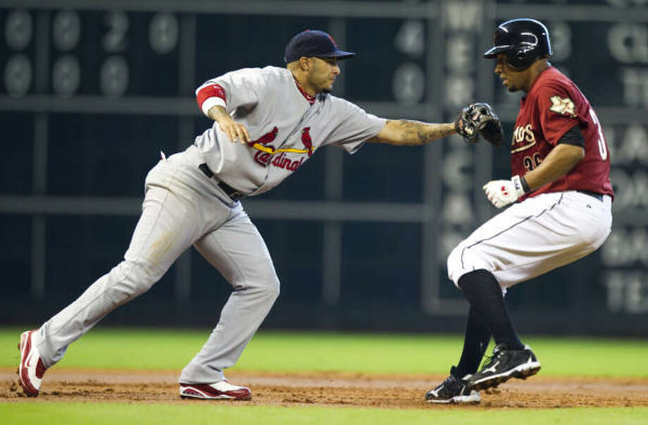 Cardinals 4, Astros 2Cardinals third baseman Felipe Lopez reaches to tag out Astros shortstop Angel Sanchez. Photo: Brett Coomer, Chronicle