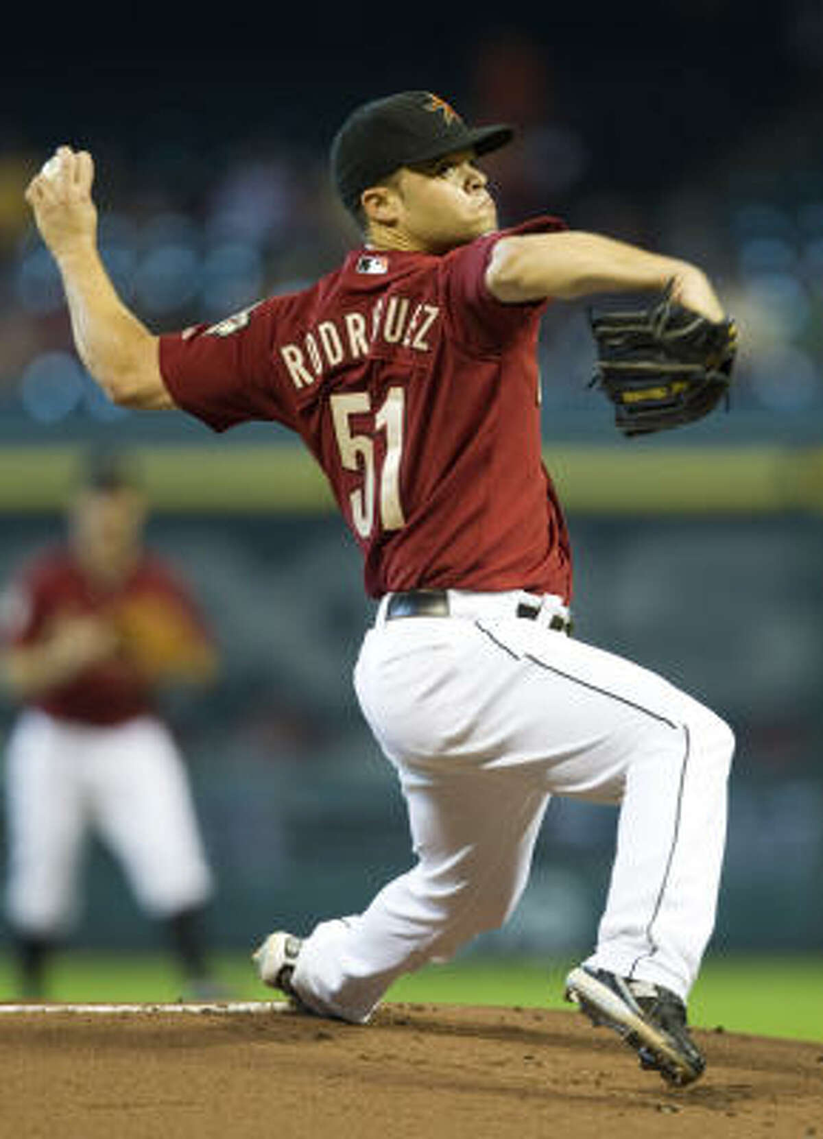 Astros starter Wandy Rodriguez lasted six innings, allowing three runs.