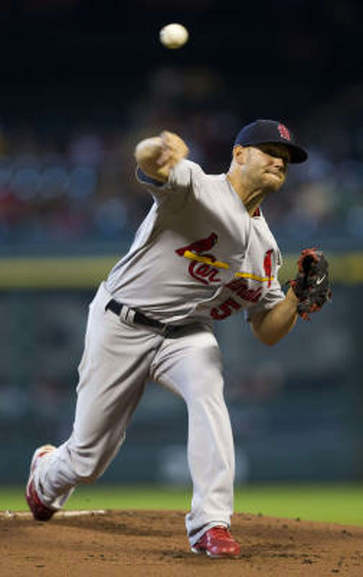 Cardinals starter pitcher Blake Hawksworth allowed two runs before being relieved after 5 1/3 innings.