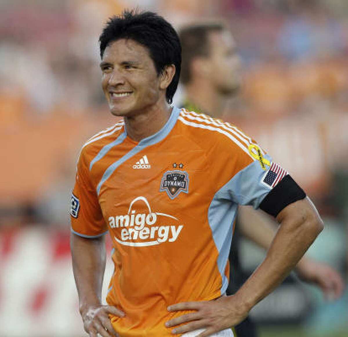 July 10: Dynamo 0, Crew 0 Dynamo forward Brian Ching smiles after missing a goal at close range on a putback in the second half against the Columbus Crew on Saturday at Robertson Stadium.