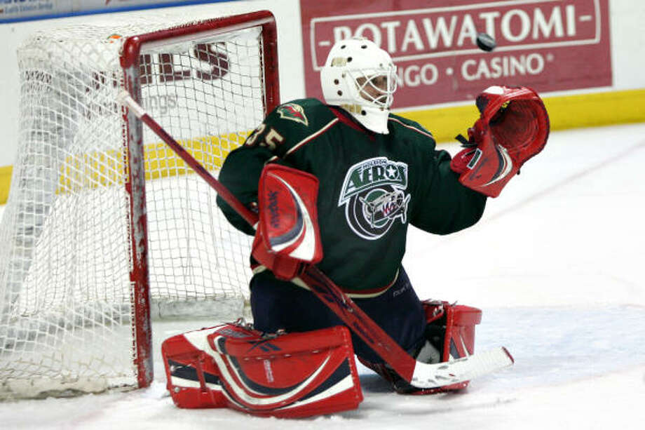 Goalie Ryan Nie had a rough outing in his first start for the Aeros, allowing five goals in Friday's loss to Milwaukee. Photo: Chris Jerina