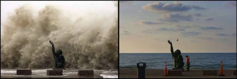 "LEFT PHOTO:  Waves crashing into the seawall reaching over the memorial to the hurricane of 1900 as Hurricane Ike began to hit Galveston  Friday, Sept. 12, 2008. RIGHT PHOTO:  ""I was thinking about God,"" Alma Lopez said as she stood before the statue commemorating the Hurricane of 1900, ""because it was like he was reaching out to God. It's just so impressive."" Lopez said she didn't realize the significance of the statue, however, a year after Hurricane Ike devastated Galveston, the iconic statue commemorating those from 1900 has even more meaning to those that endured Hurricane Ike  Thursday, Aug. 27, 2009, in Galveston. Photo: Johnny Hanson, Houston Chronicle"