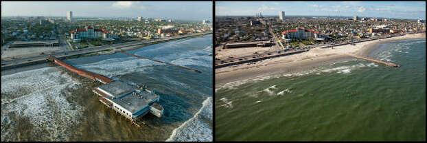 LEFT PHOTO:  Rising surf laps at the Galveston Seawall as the historic Balinese Room juts 600 feet out over the water as the city prepares for the arrival Hurricane Ike,  Friday, Sept. 12, 2008.  RIGHT PHOTO:  The legendary night club, listed on the National Register of Historic Places, was completely destroyed by the hurricane, leaving only a few piers in the surf as remaining traces across from the street from the Galvez Hotel. Photo: Smiley N. Pool, Houston Chronicle