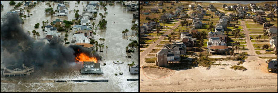 LEFT PHOTO:  By midday on Friday, Sept. 12, 2008,  the storm surge had already inundated parts of of Galveston unprotected by the seawall and a fire totally engulfed a beach house on Pelican Lane in Pirates Beach.   RIGHT PHOTO:  In the same scene photographed Aug. 16, 2009, the effects of the fire and storm damage have obviously combined to take a toll, as at least three homes on the beach are no longer there. Photo: Smiley N. Pool, Houston Chronicle