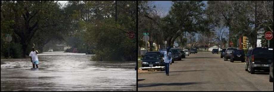 "LEFT PHOTO:  John Ned Rose, 66, assess the damage in font of his home near the corner of 54th and M on Galveston Island as Hurricane Ike hit on Galveston Island Saturday, Sept. 13, 2008. Rose said he had water up to his waist in his home. ""I've never seen it like this,"" the life-long resident said. RIGHT PHOTO:  Theophlis August waves to a neighbor near his home on the corner of 54th and M on Galveston Island a year after Hurricane Ike caused a storm surge that flooded the neighborhood Galveston Island Saturday, Aug, 27 2009. ""We left,"" August said of leaving the island before the hurricane hit. ""We had gas so we left."" August said the flood waters affected everyone's home in the neighborhood. Photo: Johnny Hanson, Houston Chronicle"