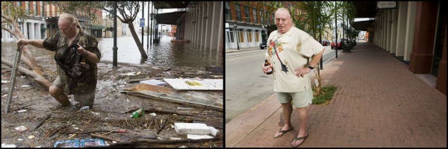 LEFT PHOTO:  Tom LeCroy walks through debris strewn in The Strand that suffered flooding in the aftermath of Hurricane Ike Saturday, Sept. 13, 2008, in Galveston, Texas. LeCroy's, who rode out the storm in The Strand, restaurant suffered major flood damage. RIGHT PHOTO: CAPTION TK OF LeCroy August 31, 2009. Photo: Brett Coomer, Houston Chronicle