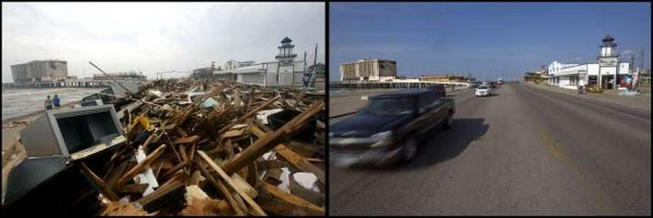 LEFT PHOTO:  With the Flagship Hotel standing on the Gulf in the distance, what was left of Murdoch's Pier and Hooters restaurant was thrown on to Seawall Blvd. and 23rd St. in Galveston after Hurricane Ike demolished the buildings that were once on stilts in the water Saturday, Sept. 13, 2008. With the Flagship Hotel standing in the distance, the rubble of Murdoch's Pier and Hooters restaurant has been cleaned up on the corner of Seawall Blvd. and 23rd St. in Galveston after Hurricane Ike demolished the buildings that were once on stilts in the water Thursday, Aug 28, 2009. Murdoch's Pier is currently being rebuilt. Photo: Johnny Hanson, Houston Chronicle