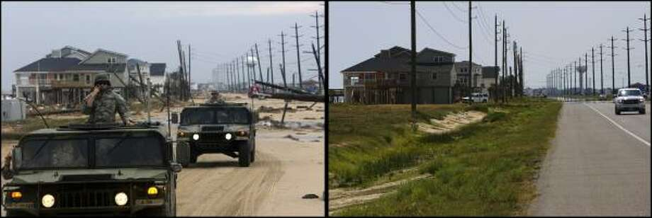 LEFT PHOTO: Driving past the destruction left by Hurricane Ike on FM 3005, the Army National Guard C-Troop, travels along FM 3005 to pick up a two stranded women in the Pointe West neighborhood on Galveston's west side Sunday, Sept. 14, 2008.  RIGHT PHOTO:  A year after Hurricane Ike, the stretch of FM 3005, on Galveston's west end near Pirates Beach is restored Thursday, Aug. 27, 2009, in Galveston. Photo: Johnny Hanson, Houston Chronicle
