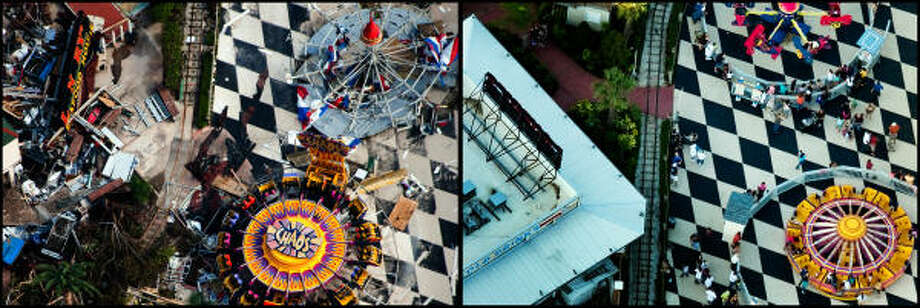 LEFT PHOTO:  A ride aptly named 'Chaos' is seen amidst the debris and damage to the Kemah Boardwalk after  Hurricane Ike, Monday, Sept. 15, 2008, in Kemah. RIGHT PHOTO:  Patrons enjoy replacement rides on the boardwalk as the entertainment area is back to life Aug. 16, 2009.  The complex suffered millions of dollars in damage and was closed for six weeks following the storm. Photo: Smiley N. Pool, Houston Chronicle