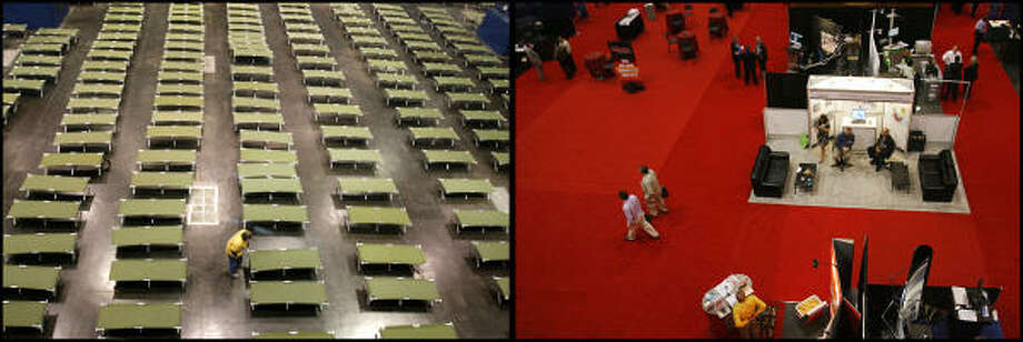 LEFT PHOTO:  A volunteer arranges cots at the George R. Brown Convention Center, where the Red Cross and other organizations set up a staging center for evacuees on Sept. 15, 2008 in Houston.  RIGHT PHOTO:  Nearly a year later people attend the Summer NAPE Expo, an oil and gas convention, in Hall C. at the George R. Brown, Friday, Aug. 28, 2009. Photo: Karen Warren, Houston Chronicle
