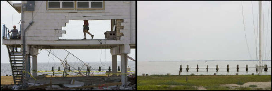 LEFT PHOTO:  Ralls Lee, center,  salvages  club trophys in the remains of the Seabrook Sailing Club after hurricane Ike Saturday, Sept. 20, 2008, in Seabrook. The club was established in 1934 and rebuilt in 1962.   RIGHT PHOTO:  Only a lot remains where the building once stood  Tuesday, Sept. 1, 2009.  The club will have a ground breaking ceremony on Sept. 5  for a replacement building. Photo: James Nielsen, Houston Chronicle