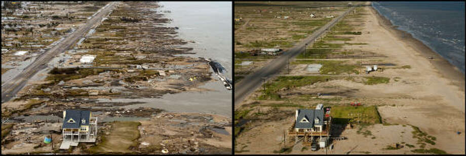 LEFT PHOTO:  The yellow house belonging to Warren and Pam Adams is one of the only structures remaining after  Hurricane Ike devastated Gilchrist, Sunday, Sept. 14, 2008. RIGHT PHOTO:  The Adams' house became something of an icon of storm, garnering world-wide attention.  Warren Adams spent much of the time after Ike living in a trailer home while repairing the house.  A year later Pam Adams says they are working hard to get the house back in order, with their goal being to move back into the home in time for the one-year anniversary.  She says they are still struggling with insurance issues. Photo: Smiley N. Pool, Houston Chronicle