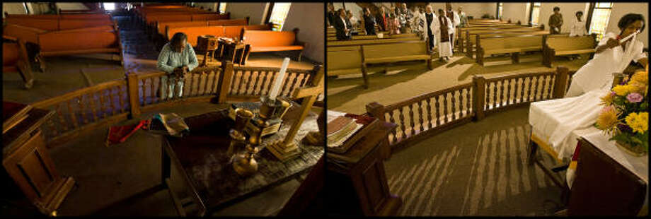 "LEFT PHOTO: Salatheia Bryant-Honors, Co-Pastor of Reedy Chapel A.M.E., prays after taking her first look at the historic church after Hurricane Ike flooded Galveston Wednesday, Sept. 17, 2008. ""When we first got down there and looked at church, we just wept,"" Salatheia said. ""The church, the city, the homes - everything was just devastated.""  RIGHT PHOTO: Parishioners of Reedy Chapel A.M.E. Church prepare to start service Sunday, Sept. 6, 2009.  The Church suffered major damage when Hurricane Ike hit Galveston,  but was restored.  It was rededicated on August 30. Photo: Nick De La Torre, Houston Chronicle"