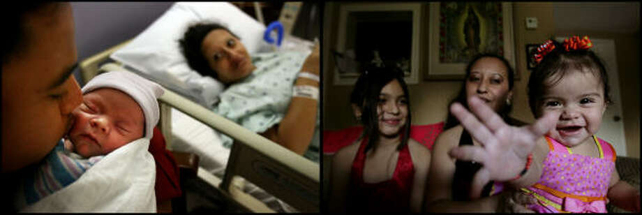 LEFT PHOTO:  Florencio Hernandez kisses his baby daughter, Jennifer, as mother Maria Hernandez rests at UTMB in Galveston after Jennifer Ramirez-Hernandez was the first baby born on Galveston Island since the hurricane struck. on Oct. 13, 2009.   RIGHT PHOTO:  Maria Ramirez-Hernandez and her mother Maria Hernandez smile with Jennifer Ramirez-Hernandez,now 10 months-old, as they rest in their home in Texas CIty on Wednesday, Aug. 19, 2009. Photo: Mayra Beltran, Houston Chronicle