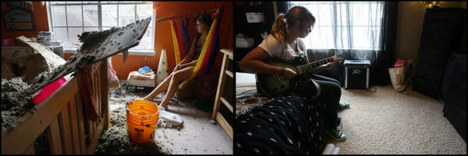 LEFT PHOTO:  Alison Naquin, 14, sits amidst the damage after the roof in her bedroom caved in during the storm, in the Green Tee subdivision after Hurricane Ike on September 13, 2008 in Pearland.  RIGHT PHOTO:  Naquin, now 15, plays the guitar  Wednesday, Aug. 19, 2009 as she sits on her brand new bed in the same bedroom where the roof caved in over her bedroom at her family's home. She was in the game room with the rest of her family. One year later, the house is remodeled. Photo: Mayra Beltran, Houston Chronicle